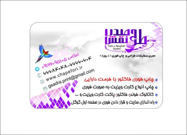 کارت ویزیت فوری در تهران